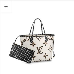 Large black & white Louis Vuitton neverfull pouch
